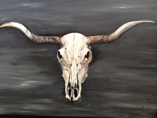A painting of a cow skull mounted on a wall