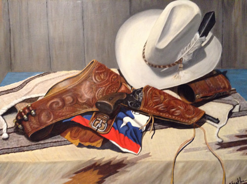 A painting of a holster, cowboy hat, and other paraphenelia