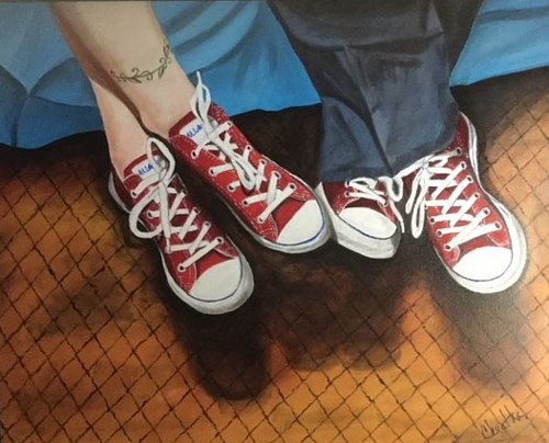 A painting of two pairs of feet wearing sneakers
