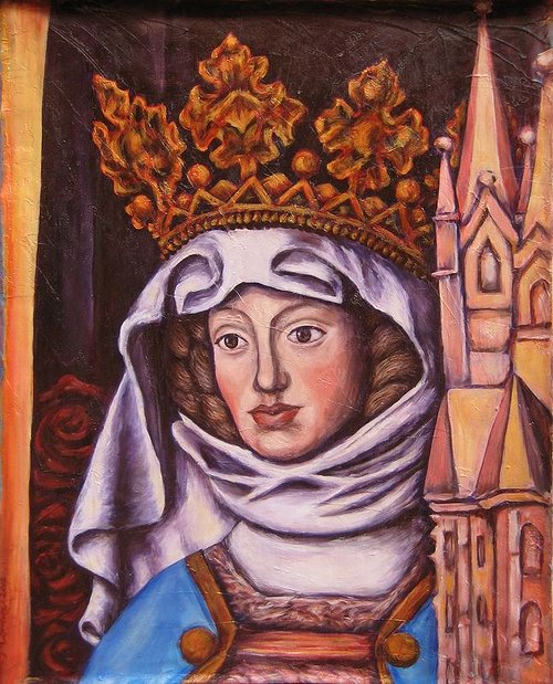 Painting of Saint Elizabeth with crown and towers