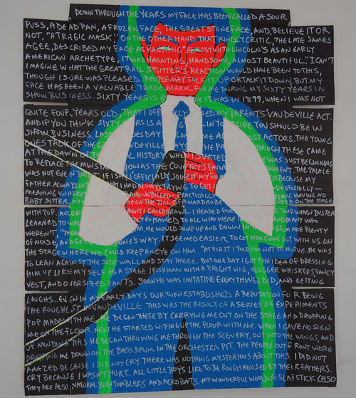 A painting of a figure covered in words