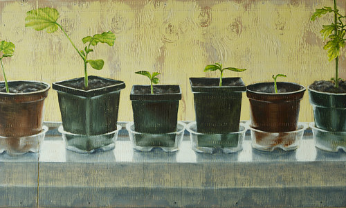 An oil painting of six flower pots on a windowsill