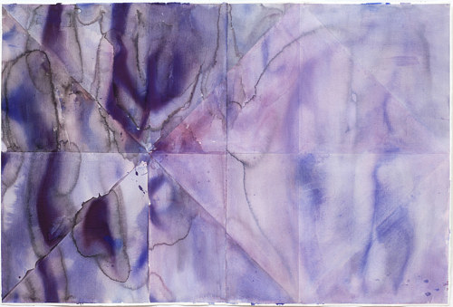 A painting exploring the patterns of flowing watercolour in a single pigment
