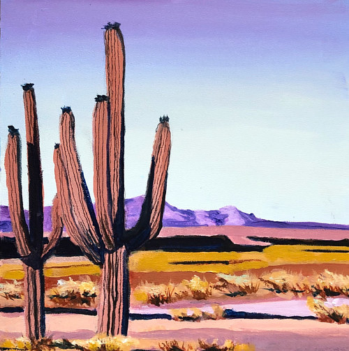 A painting of two cactuses in a desert vista