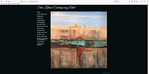The front page of Steve Latimer's art portfolio website