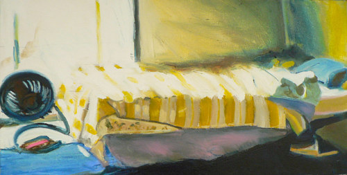 A painting of a bed and a fan with sunlight coming in through a window