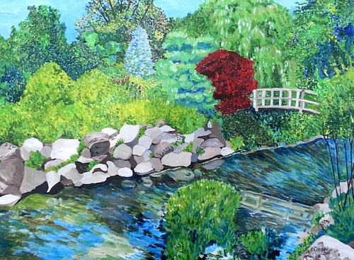 An acrylic painting of a bridge in a Japanese garden