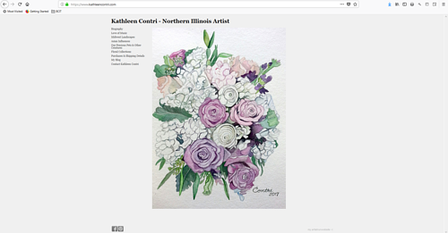 A screen capture of Kathleen Contri's art portfolio website
