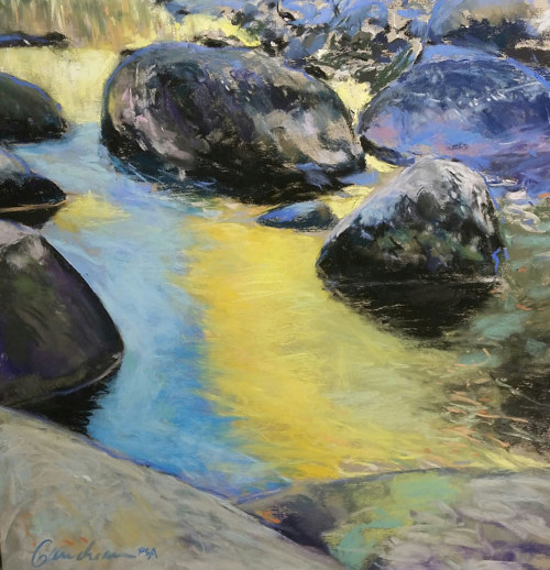 A pastel drawing of stones in a river