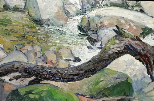 An oil painting of a section of a brook