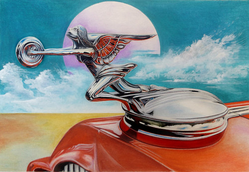 A pencil crayon drawing of a classic car hood ornament