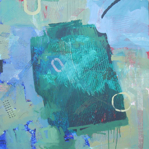 An abstract painting with blue-green hues
