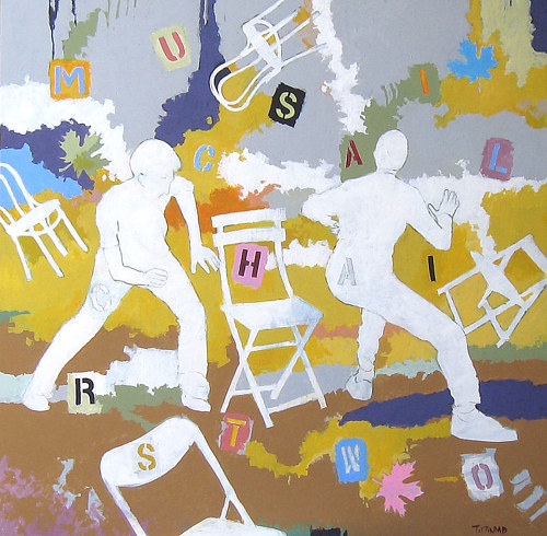 A painting of figures and chairs