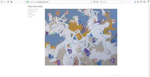 A screen capture of Terry Lee Crump's art website