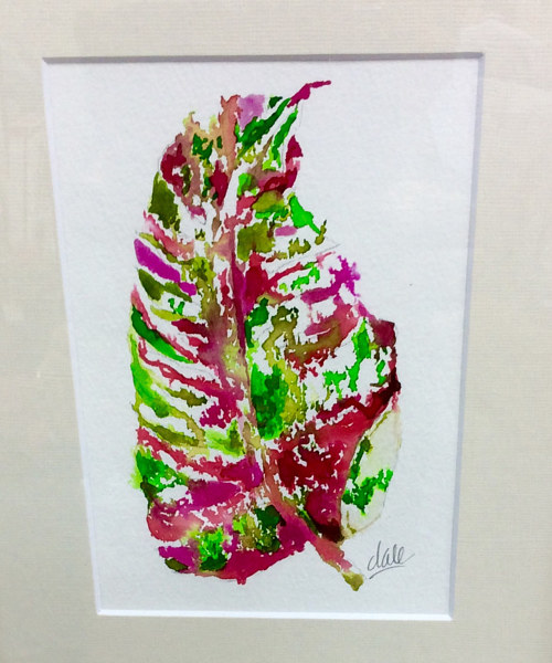 A watercolour painting of a leaf