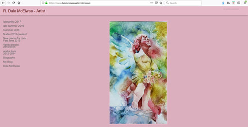A screen capture of R. Dale McElwee's art portfolio website