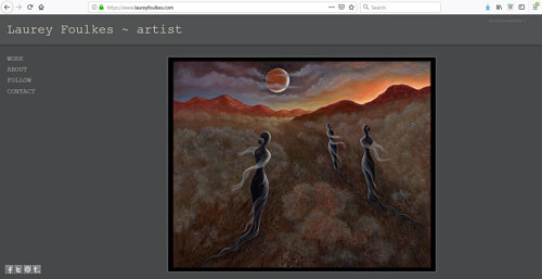 The front page of Laurey Foulke's art portfolio website