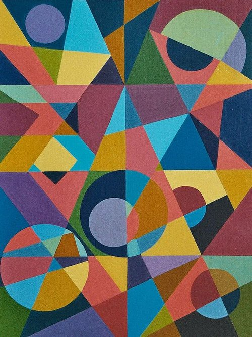 abstract painting of circles, triangles and squares