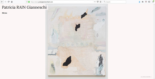 A screen capture of Patricia Rain Gianneschi's art portfolio website