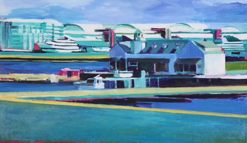 A painting of a harbour in blue and green tones