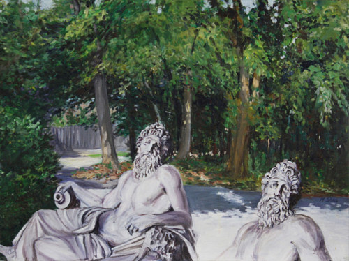A painting of a marble statue superimposed on a traditional landscape
