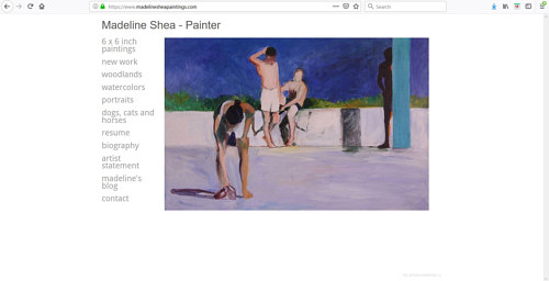 The front page of Madeline Shea's art portfolio website