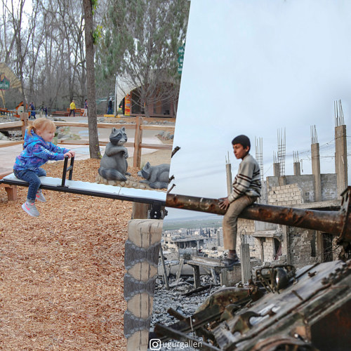 A collage of two images of children playing in very different landscapes