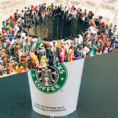 A collage featuring an image of a crowded well and a Starbucks cup