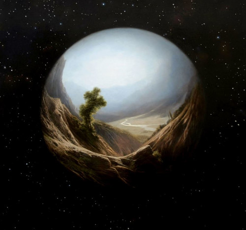 A painting of a planet as a transparent orb