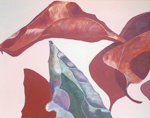 acrylic painting of three leaves with dramatic shadows. two leaves are red and one is greenish blue.
