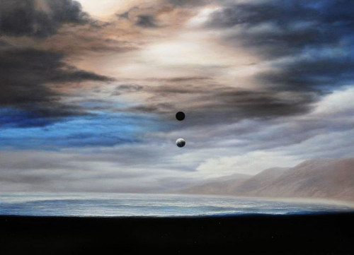 A painting of a small round object falling from the sky