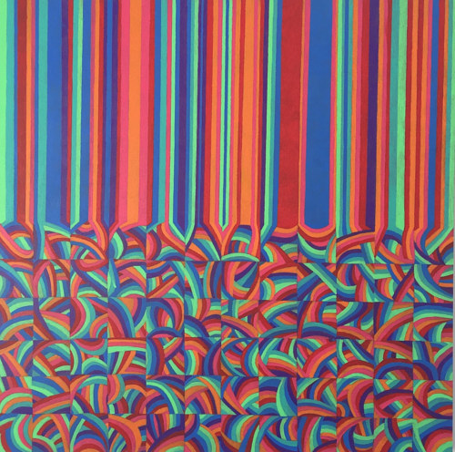 A geometric painting with stripes that become squares of pattern