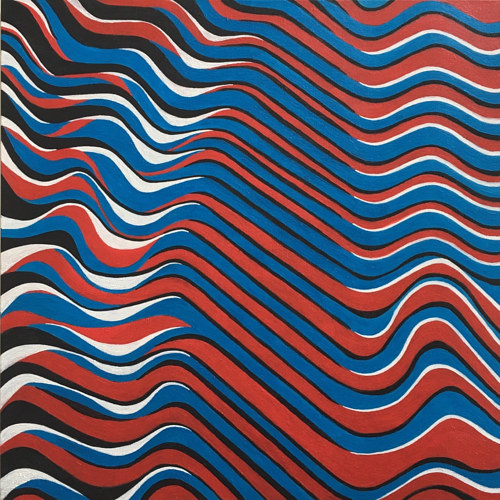 A painting with stripes of blue, red, and white