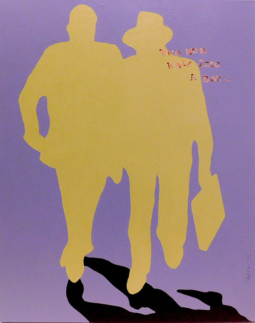 A painting of two silhouetted figures with text