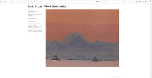 A screen capture of Reed Dixon's art portfolio website