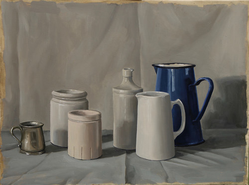 An oil painting of several grey-toned vessels on a table