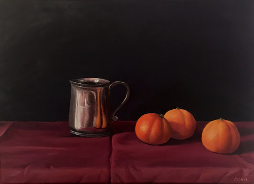 A still life painting of a silver vessel and some oranges
