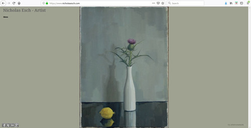 A screen capture of Nicholas Esch's art portfolio website