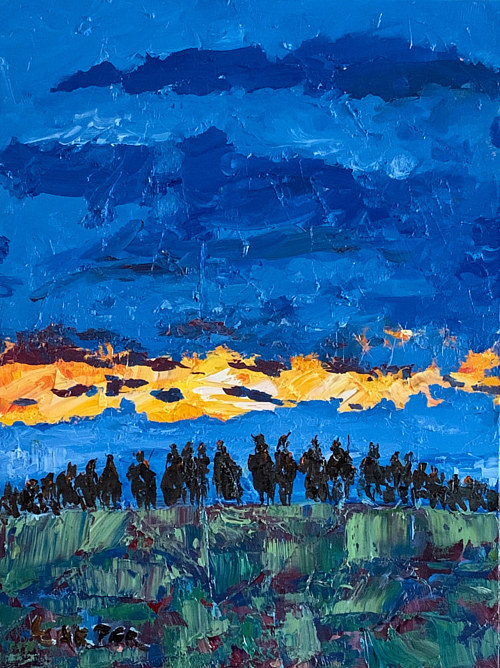 An abstract painting of figures mounting a hill at sunrise