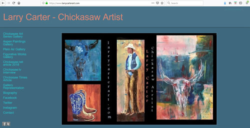 The front page of Larry Carter's art portfolio website