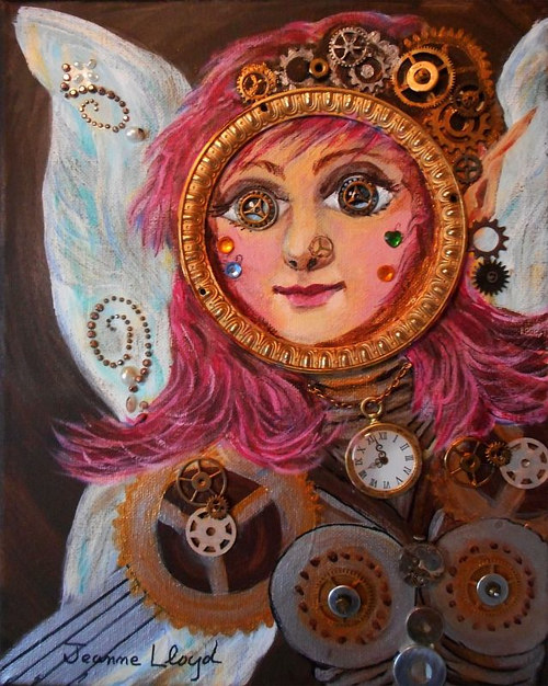 A painting of a female face with gears and machinery overlaid