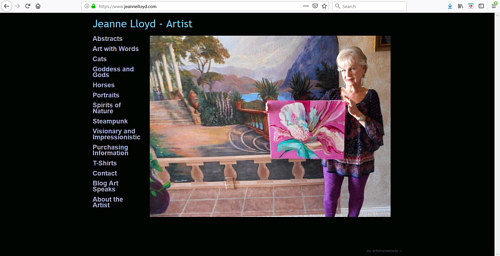 The front page of Jeanne Lloyd's art portfolio website