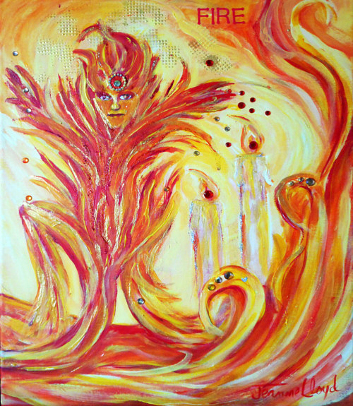 A painting of a fire spirit