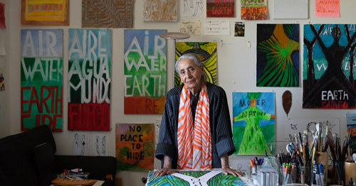 A photo of Luchita Hurtado in her art studio