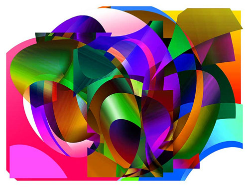 A digital artwork featuring colourful tubular forms