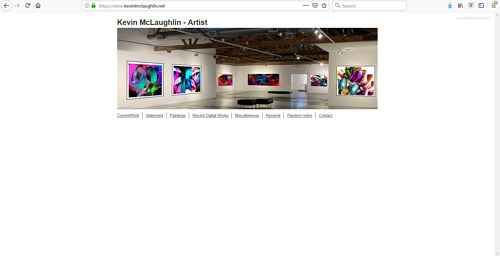 A screen capture of Kevin McLaughlin's art portfolio page
