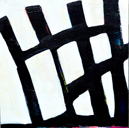 A painting in almost-black and white tones, with structural geometric forms