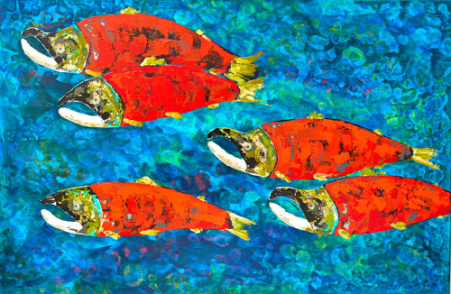 A painting of spawning salmon