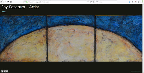 A screen capture of Joy Pesaturo's art portfolio website