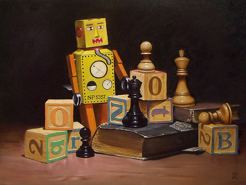 Oil painitng of toy robot, block letters, chess pieces and book